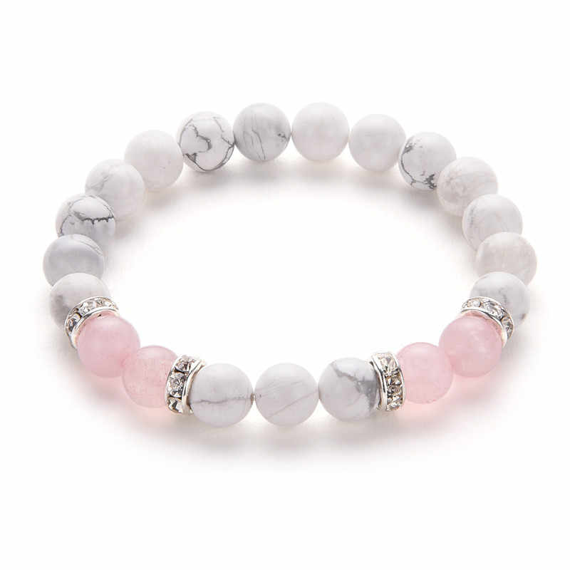 Poshfeel 8mm White And Pink Stone Beads Bracelets & Bangles Crystal Charm Bracelets For Women Mbr170430