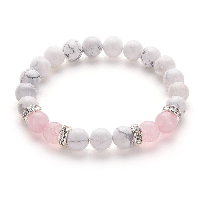 Poshfeel 8mm blanc et rose pierre perles Bracelets & Bracelets cristal charme Bracelets pour femme Mbr170430