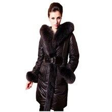 Female Warm White Duck Down Coat Plus Size Long Design Import Blue Fox Fur Hooded Collar Thick Coat (S-5XL) Jacket COATS47