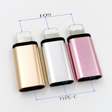 3pcs/lot TYPE-C USB To IOS Charging adapter for I5/6/7/8 plus Power Connector Aluminum Alloy Shell Three colors optional