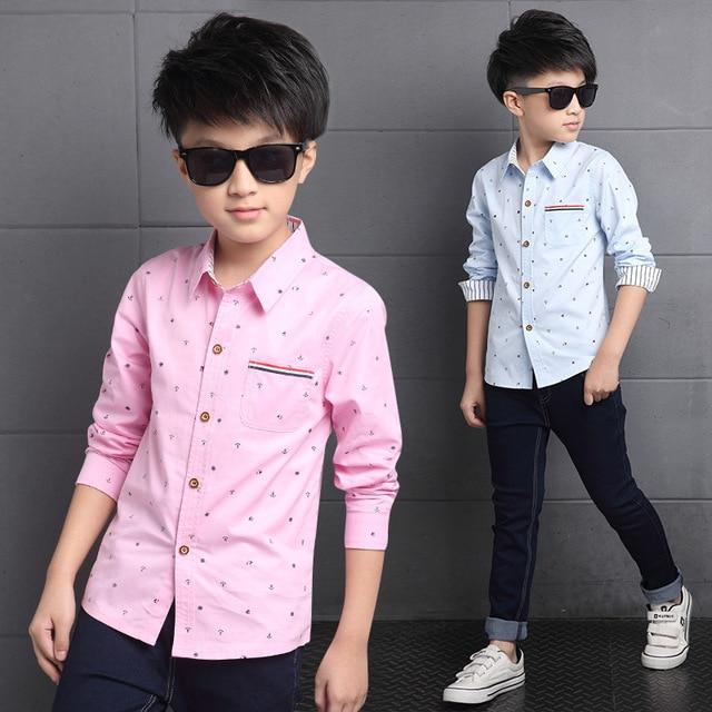 Chicos adolescentes de Manga Larga Vuelta-Abajo Camisas de Cuello Niños  Algodón Clothig Ropa de e5c357bc5f3d7