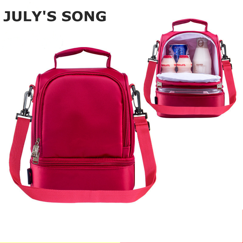 JULY'S SONG Double Decker Cooler Lunch Bags Thermal Insulated Box Food Fresh Keep Picnic Bag Red Lunchboxes For Women Kids 8L