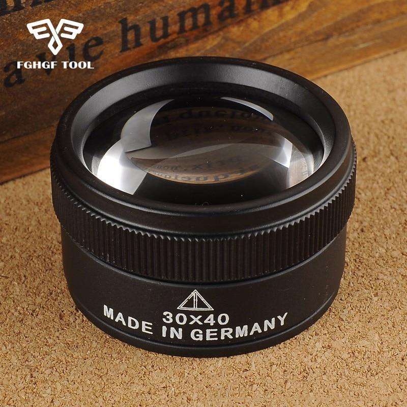 FGHGF Prémiový měřicí lupa 30x 40 mm, zvětšovací sklo, objektiv, smyčka, mikroskop, pro mince, razítka, šperky, lupe