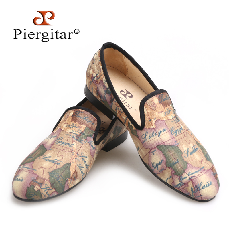 Piergitar/ручной работы мужские ткани обувь с Глобус печати Британский Дизайн мужские слипперы мужская повседневная обувь для вечеринок Мужски