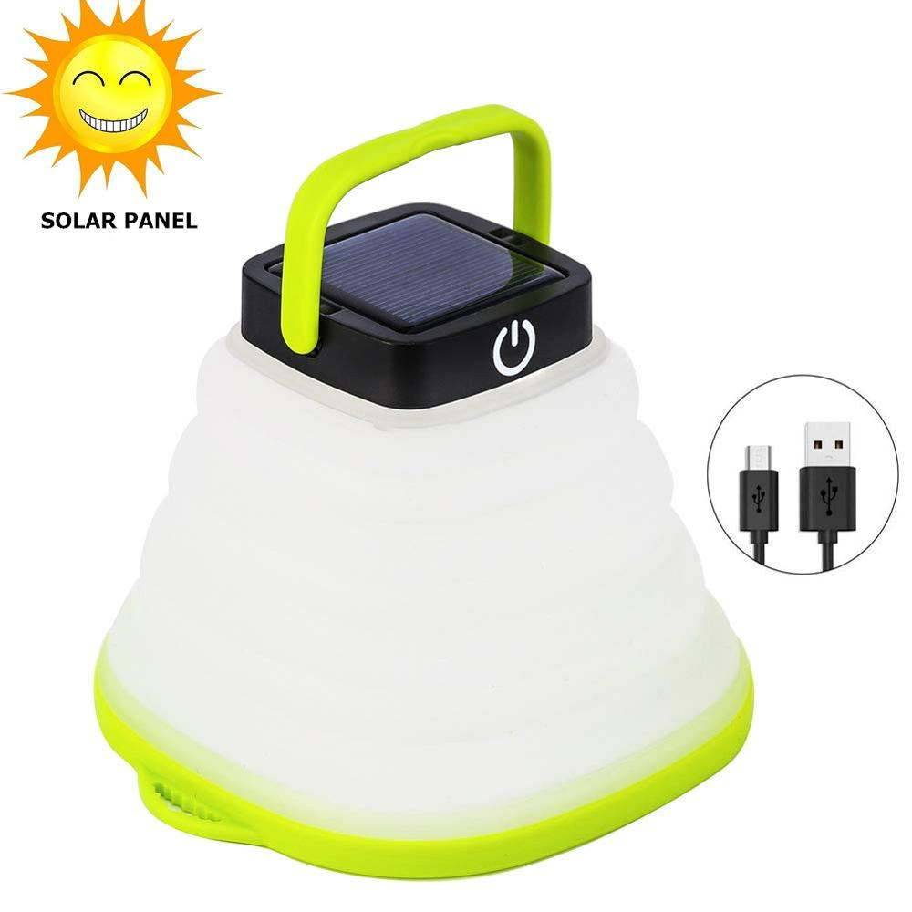 Portable Camping Light Solar Powered Lantern LED Mini Hanging Flashlight For Tent Lamp Solar,USB Input Collapsible Waterproof