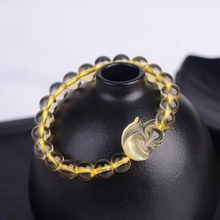 Natural Yellow Citrine Round Beads Bracelet 8mm Women Men Gemstone Fox Pendant Round Beads Wealthy Stone Gift Jewelry AAAAA
