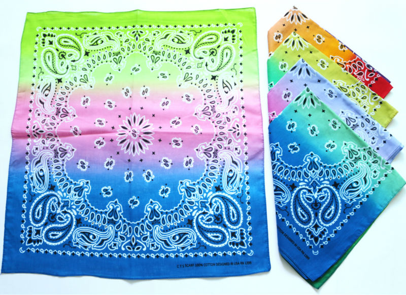 Gradient Color Paisley Bandanas Men Pocket Square Ladies Headband Headscarf Women Neckerchief Headwear Handkerchief TJ9035