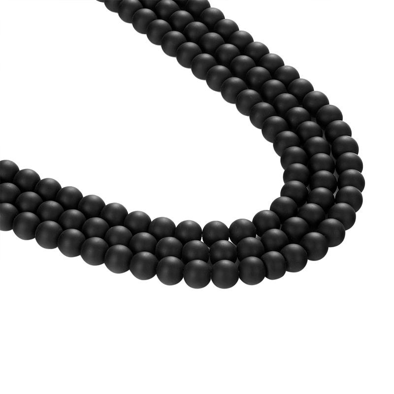 Ливви черный Измельчить камень шарик DIY подходит для цепи ожерелье аксессуары Оптовая Продажа AD004