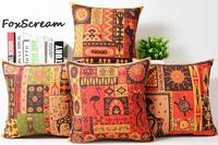 Vintage African Tribe Totem Animal Cushion Cover Cotton Linen Throw Pillow Case 18 Crane Giraffe Turtle
