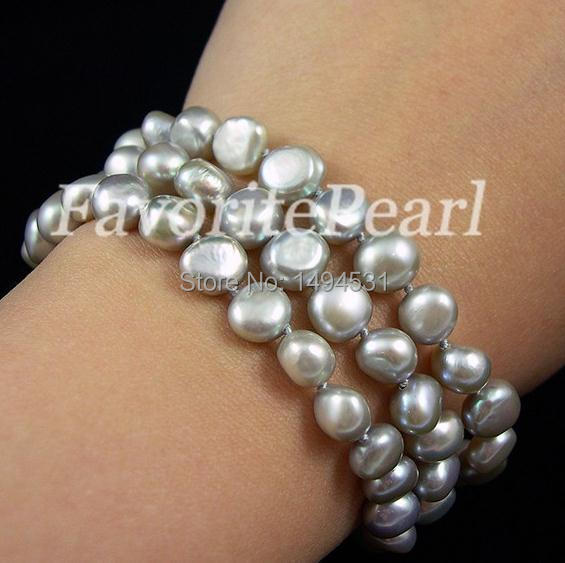 Wedding Pearl Jewelry - Free Shipping -Triple - Row AA 7-7.5 Inches 7-8mm Gray Color Natural Freshwater Pearl Bracelet
