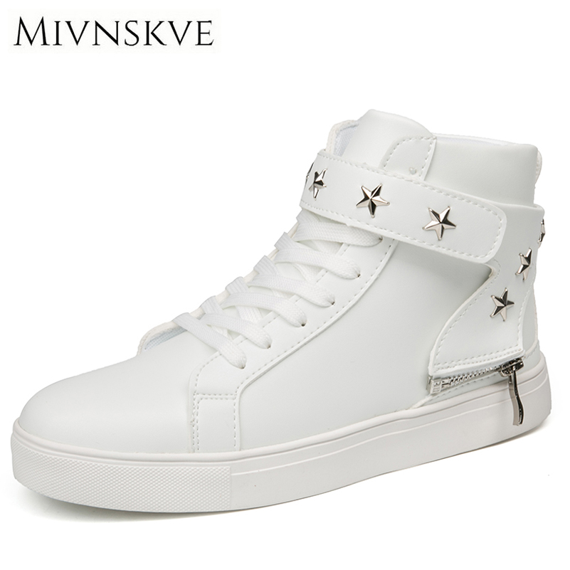 MIVNSKVE 2017 New Autumn/Winter Men Casual Shoes With Fur Warm High-top Lace-up PU Leather Shoes Flats Fashion Men's Sneakers