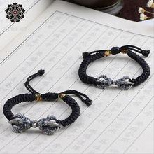 Женский браслет из серебра 100% пробы 925 Серебряный Тибетский