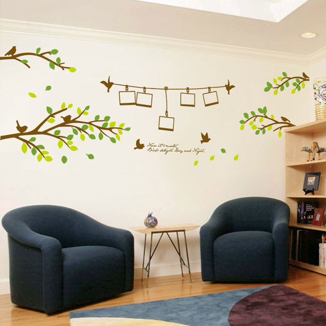 DIY Wall Decal Tree Branches Birds Photo Frame Wall Sticker Bedroom ...