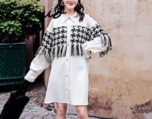 Womens Tops and Blouses White Tassel Dress Long Sleeve Streetwear Shirt Autumn Winter Dresses Turn-down Collar