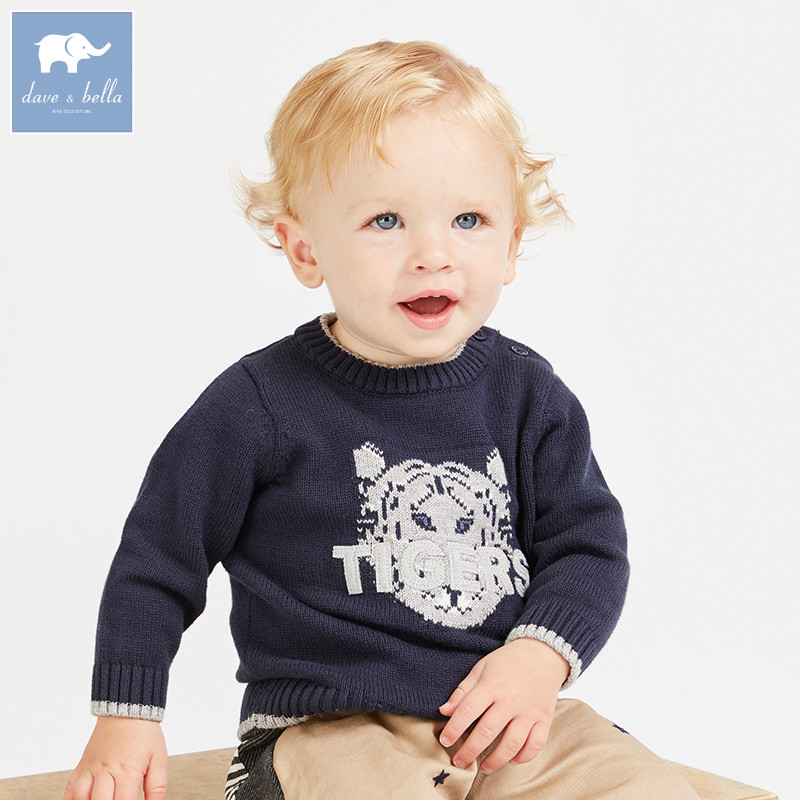 все цены на DBJ7842 dave bella autumn knitted sweater infant baby boys long sleeve pullover kids toddler tops children knitted sweater