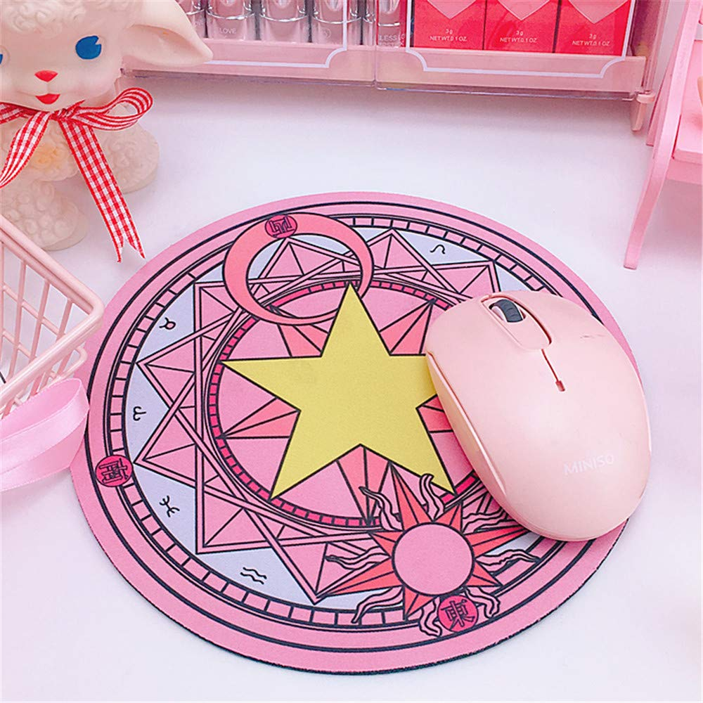 HOOWAN Round Mouse Pad Cute Magic Array Mat For Girls Gift Office PC Soft Thick Beautiful Romantic