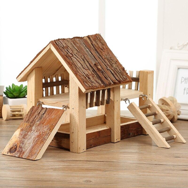 Hámster hámster Sirio doble juego el pabellón de madera maciza Natural baño duch