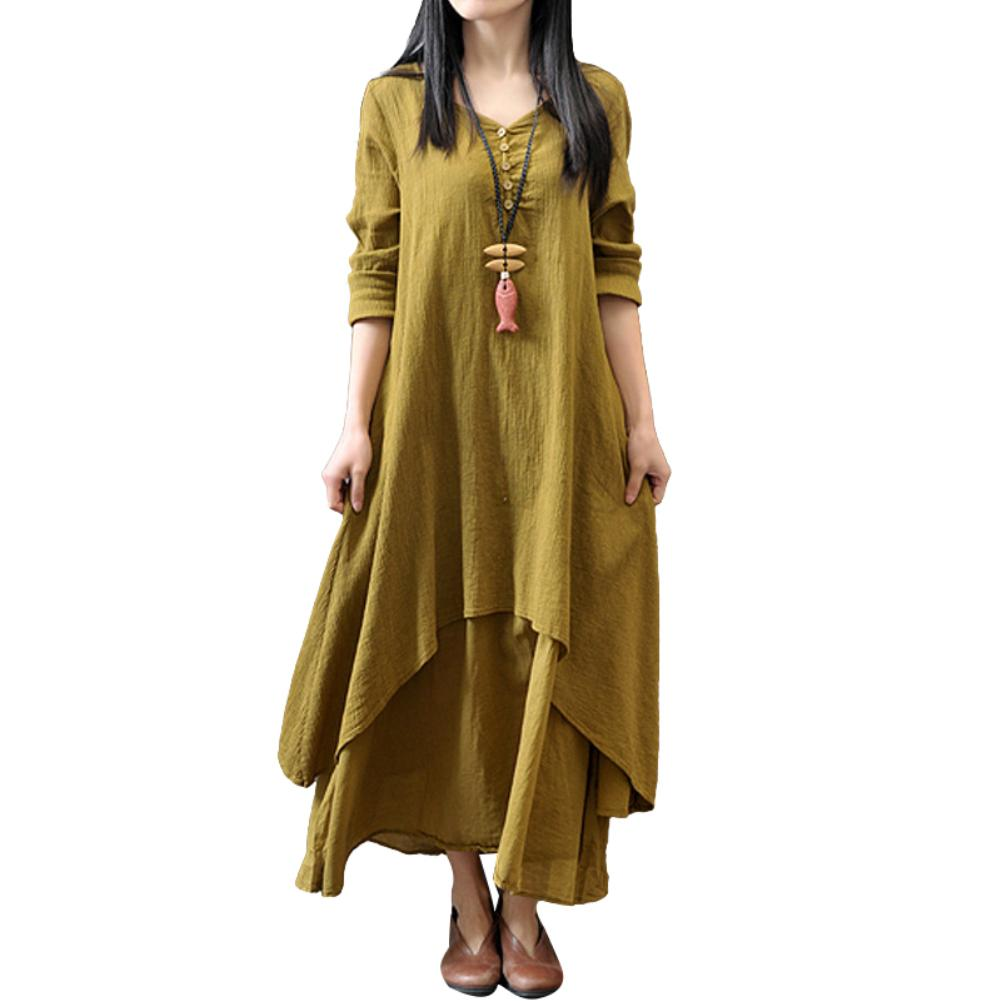 Plus Size Oversized Fashion Women Solid Color Long Sleeve Baggy Loose Layered Lady Summer Beach Party Long Maxi Dress Vestidos