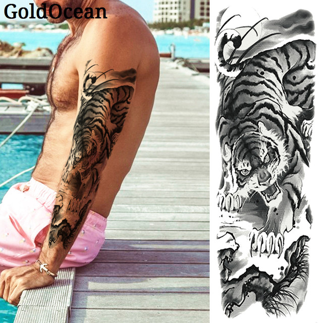 66c8635ef950f King of Forest Black Tiger Large Arm Temporary Tattoo Stickers For Men  48*17CM WOmen Makeup Body Art Fake Water Transfer Tattoos
