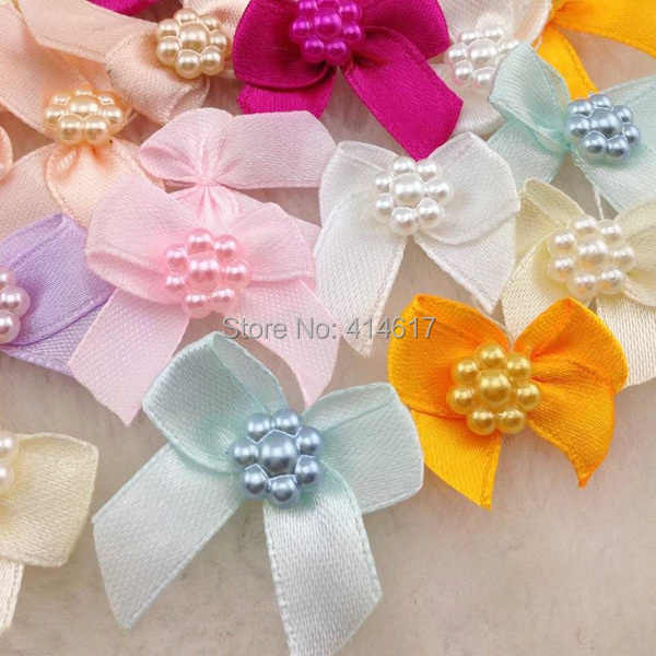 50pcs Mini Satin Ribbon Flowers Bows Gift Craft Wedding Decoration A262