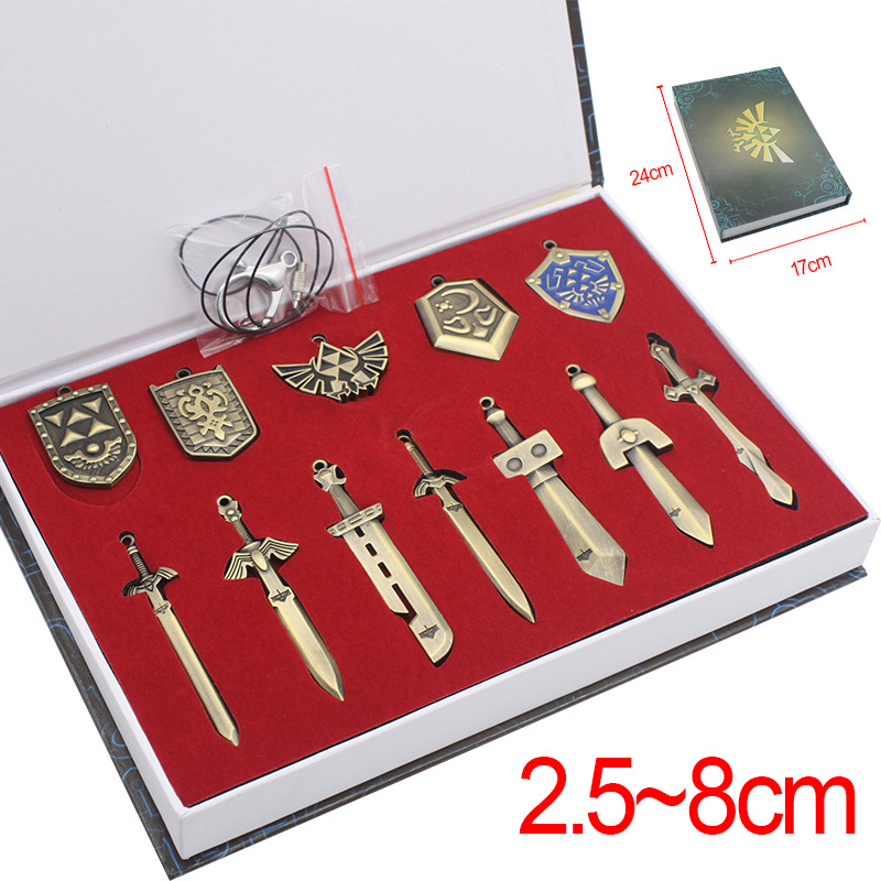New Game The Legend Of Zelda: Breath Of The Wild Weapon Sword Link Shield Weapons Pendants Cosplay Toy Set Metal Badge