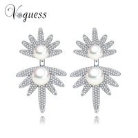 VOGUESS White Gold Plated Drop Earrings Zircon And Simulated Pearl Dangling Earrings Beautiful Jewelry For Lady