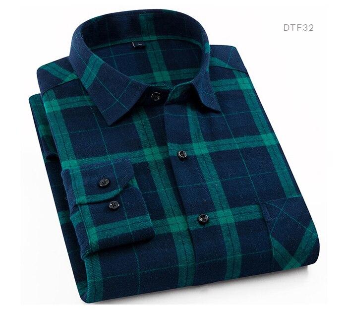 Męska 100% bawełna dorywczo koszule w szkocką kratę kieszeń  M43D6