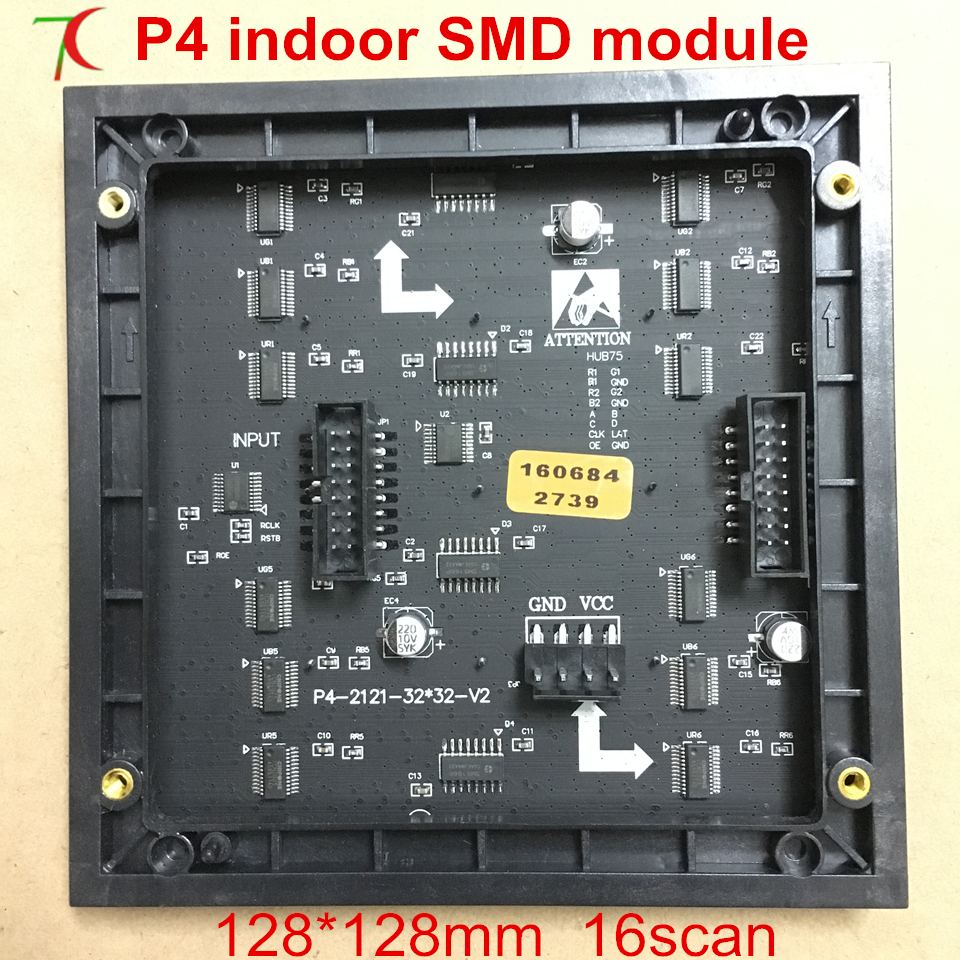 Cheap High Quality SMD P4 Led Display Module,  1/16 Scan,128mm*128mm 32*32 Pixels 62500dots/m2