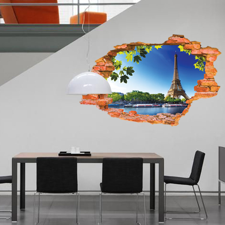 New Design Creative Fashion Broken Wall Leaves And The Eiffel Tower ...