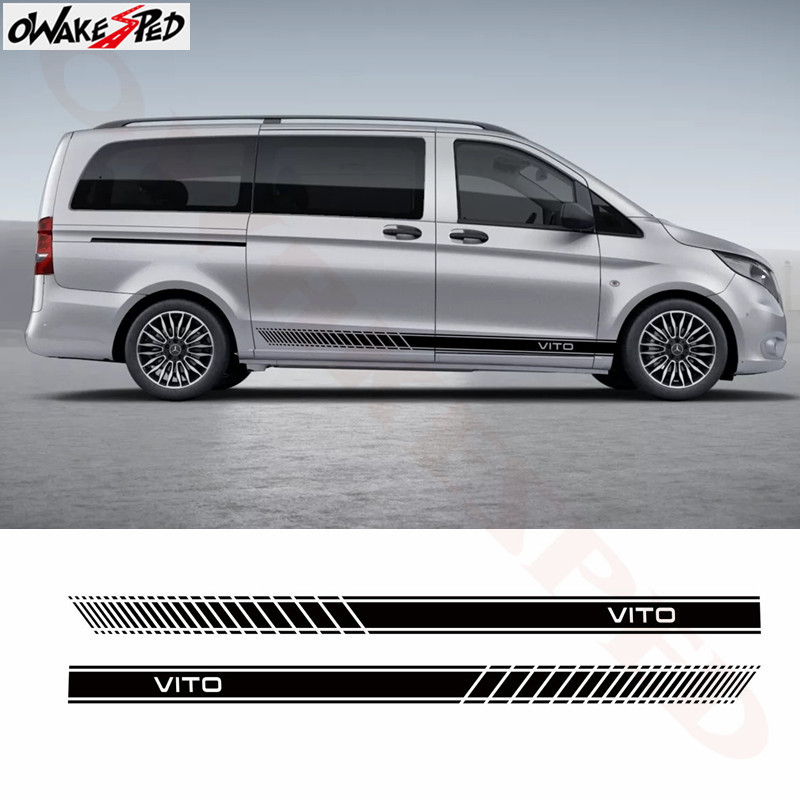 2 PCS Racing Side Stripes Logos Decals Stickers Vinyl Graphics For Mercedes Vito