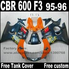 Высокое качество Обтекатели комплект для HONDA CBR 600 F3 1995 1996 зеленый оранжевый обтекатель обвесы cbr600 95 96 YP85