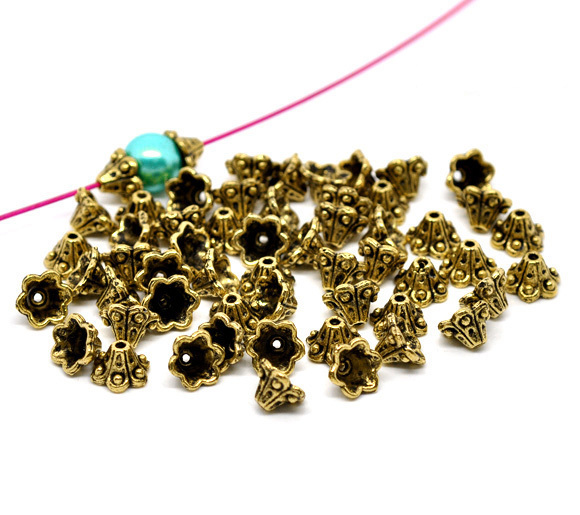 Free Shipping 500pcs Antique Gold Tone Flower Bead Caps Findings 10x5mm (Fit 8mm Bead) Jewelry Findings Wholesale