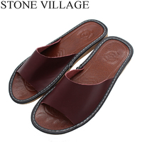 Size 35 44 Genuine Leather Home Slippers High Quality Women Men Slippers Non Slip Cool Indoor