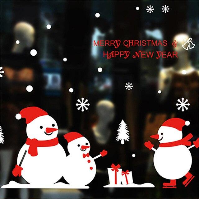 Стикер с рождественским окошком DIY рождественская елка Снеговик Наклейки на стены с новым годом Рождество самоклеющиеся фестиваль стекло наклейка s