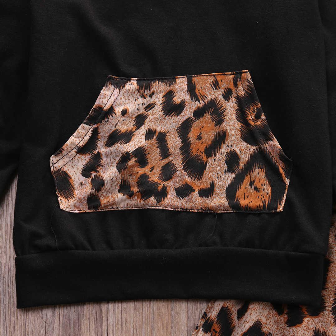 Leopard Bé Gái Quần Áo Trẻ Sơ Sinh Trẻ Sơ Sinh Bebek Trùm Đầu Áo Tops + Quần 2 cái Trang Phục Trẻ Em Tracksuit Trẻ Em Quần Áo Set