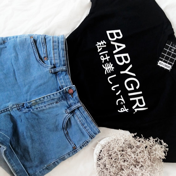 552ffad3 Babygirl harajuku T-shirt Tumblr Inspired Softgrunge Daddy Pale Grunge  Harajuku tees moletom do tumblr