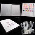Professional 216 Colors Nail Gel Polish Display Book Chart & 9 Pcs Natural Flatback Chart Nail Art Salon set