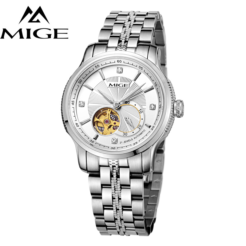 Expressive Mige Watch Men Wristwatch Synthetic Sapphire Crystal Mechanical Skeleton Hollow Luminous Dials Tourbillion Relogio Masculino Relieving Rheumatism Watches Mechanical Watches