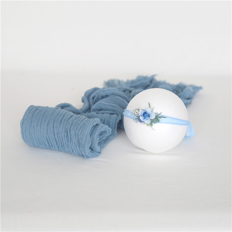 Newborn Cheesecloth Wrap Gauze Cotton Dyed Blanket Baby Knitted Wrap And Headband Set Newborn Photography Props