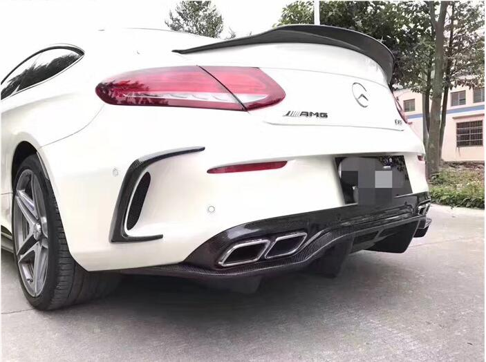 2017 C63 Amg Coupe Price >> Carbon fiber Rear Bumper Lip Spoiler Diffuser Cover For Benz C Class W205 C63 AMG Coupe 2/4DOOR ...