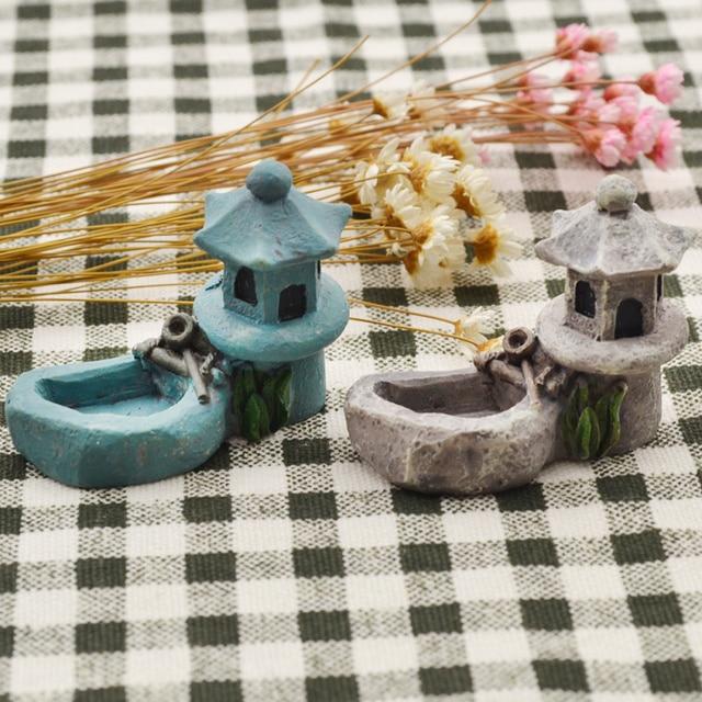 She Love Pond Figurines Decoration Tower Relaxation Zen Garden Tea Pet Home Miniature Resin Craft