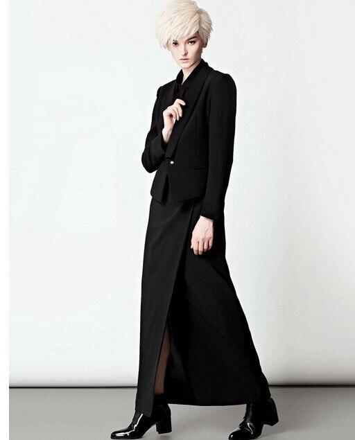 Personnaliser conception simple automne été femmes épissure élégante fente jupe taille haute shin moulante noir grande taille jupes longues