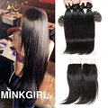 7A Brazilian Virgin Hair Straight With Closure Brazilian Virgin Hair 4 Bundle with Closure Brazilian Straight Hair With Closure