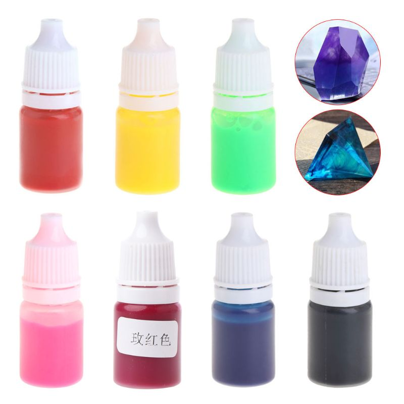 7pcs Epoxy Resin Pigment DIY Handmade Jewelry Making Dye Color UV Liquid Crafts Tools