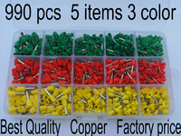 990pcs Set Copper Insulated Terminal Tubular Connector Cord Pin End Cable Wire Bootlace Ferrules Kit For