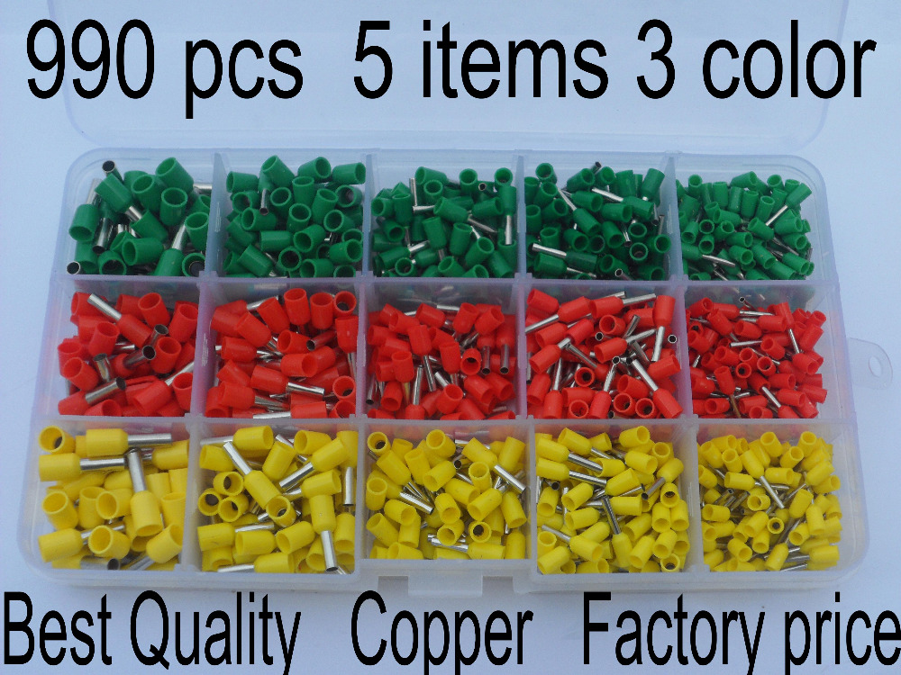 990pcs/set Copper Insulated Terminal Tubular Connector Cord Pin End Cable wire Bootlace Ferrules kit for 22~12AWG Free Shipping 1065pcs set 3 colors 22 12awg wire copper crimp connector insulated cord pin end terminal bootlace cooper ferrules kit set brass