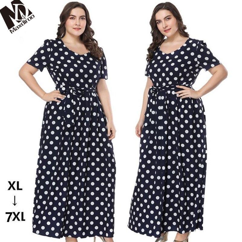 Maxdiroo Elegant Women Summer Dress Chiffon Dot Black Dress Ladies Long  Maxi Dress Plus Size Dress d02d3882917a