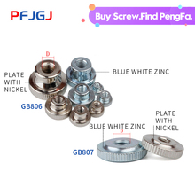 Peng Fa M3-10 GB806/807 Single-layer and double-layer nickel-plated nuts for high-end hand-screwed nuts with galvanized knurling single layer mos2