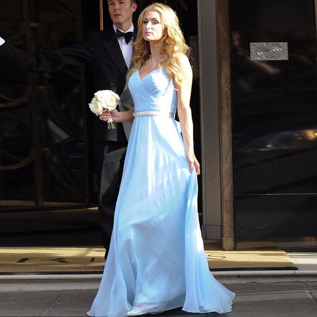 f5ca774f2e Light Blue Chiffon Bridesmaid Dresses A Line V Neck Sleeveless Ruched Bow  Sash Beading Floor Length Wedding Party Dresses