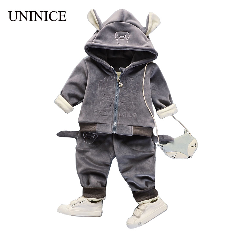 UNINICE Cute Velvet Sports Sets Autumn Boys Cotton 2-Piece Suits Hoodies 3D Print Kids' Clothing Print Pants Winter Children